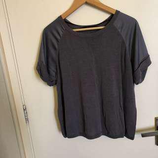 Giordano ladies round neck dark grey blouse top
