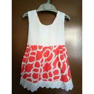 Half White Half Red Dress