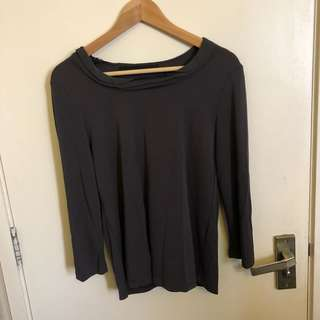 Giordano ladies dark grey top with design detailing  at the neck