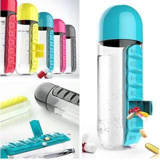 2 in 1 pills & vitamins Organizer water bottle