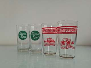 70's Drinking Glasses Green Spot & Yeo Hiap Seng Height 12-13cm Unused Mint Condition 4pcs $15