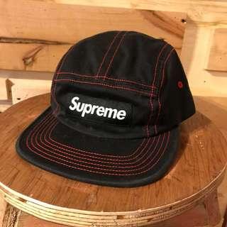 Supreme Contrast Stitch Camp Cap (SS18) Black