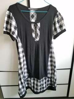 黑色格仔拉鍊連身裙 長裙 one Piece Dress Black