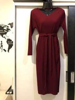 Maroon Midi Dress with Slit