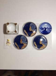 Vintage Mini Porcelain Plates Ashtray Royal Copenhagen