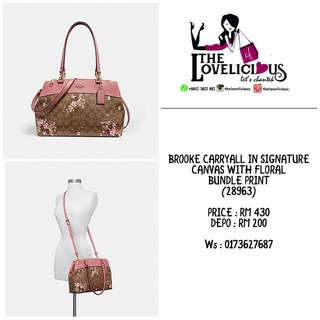 BROOKE CARRYALL IN SIGNATURE CANVAS WITH FLORAL BUNDLE PRINT COACH F28963