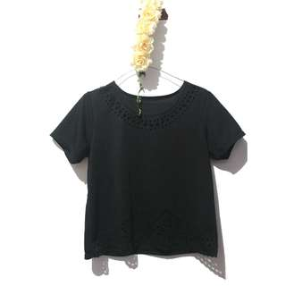 Black laser cut shirt