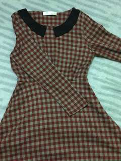 Peter Pan Collar Checkered Dress