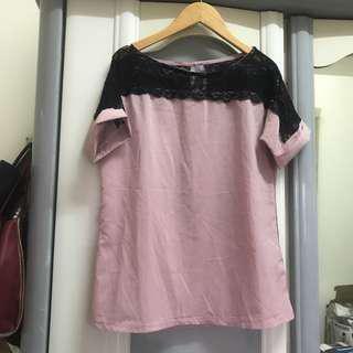 韓 韓風 日 日系 蕾絲 雪紡上衣 透膚 氣質 蕾絲上衣 藕粉色 肩蕾絲 肩透膚