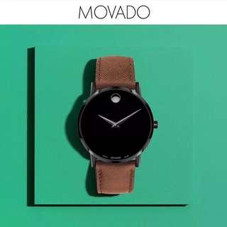 超薄身! 酷酷黑[色]瑞士名錶MOVADO(摩凡陀)男表 40mm錶盤 瑞士机芯 瑞士制造 蓝寶石藍面 真皮皮帶 30米防水.👑正品行货 全球聯保2年.