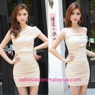 elegant one sided one shoulder tight dinner dress