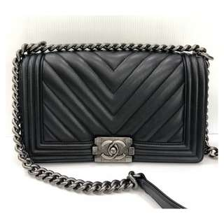 Authentic Chanel Boy Medium Chevron Flap Bag