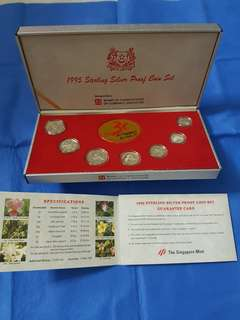 1995 STERLING SILVER PROOF COIN SET.   1, 5 ,10, 20, 50 CENTS,  $1 and $5 complete with AUTHENTICITY CERTIFICATE.