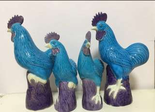 Porcelain Roosters in rare blue colour
