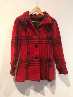 Women's red checkered coat