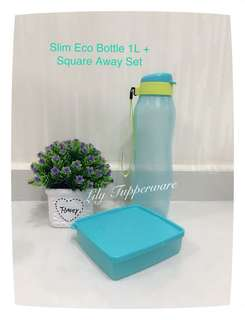 Tupperware Slim Eco Bottle 1L With Square Away Set