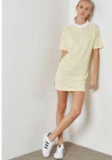 🚚 Adidas originals鵝黃直紋長版上衣洋(34)💛全新