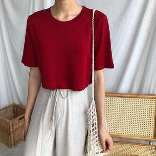 夏日/簡約純色短袖TEE/紅色超美