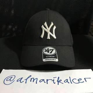 Topi 47 brand new era new york yankees black adjustable ori mlb