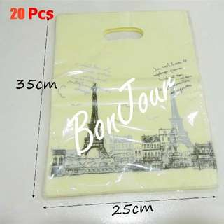 Tower Carrier Plastic Bags 20 Pcs : Handles Put Clothes Clothings Storage Store Sell Sellers Selling Stationery Stationeries Light Yellow Colour About 35cm x 25cm Sellzabo