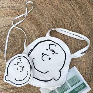【06037】史努比插畫風 查理 可愛棉麻帆布 斜肩包 拎包 單肩包 零錢包