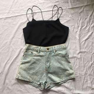 Black Singlet + Acid Washed High Waist Shorts