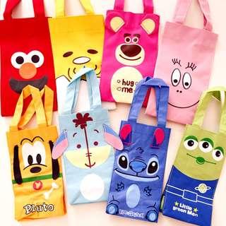 【06041】迪士尼 芝麻街 泡泡先生 卡通飲料袋 環保袋 雨傘收納袋 水壺袋 史迪奇 布魯托 三眼怪 蛋黃哥