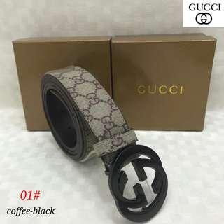 Sabuk Gucci 01#1   semi premium, bahan kulit bagus warna Apricot Kepala 2 warna UK Lebar 3,5cm UK panjang 110-125cm,   Berat 300gr  H 150rb