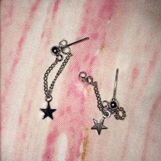 sterling silver star chain stud earrings