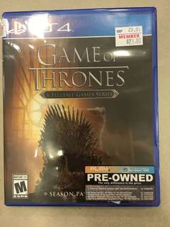 Playstation 4 Game Of Thrones (Used)