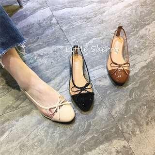 🚚 小香風蝴蝶結漆皮透明PVC平底鞋