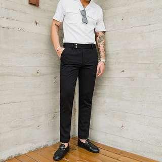 Double tab button slim cut oxford pants *SZ28-34*