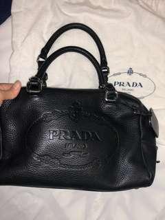 Prada black classic leather handbag