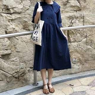 (預購) 日系 花邊翻領 雙排扣 深藍 洋裝 連衣裙