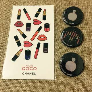 Chanel coco Game Center stickers and pin 貼紙 扣針