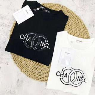 Chanel tee in blk or white