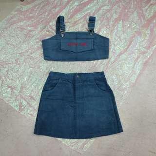 兩件式套裝吊帶小可愛+燈芯絨短裙