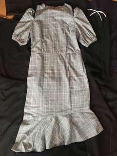 Plains and Prints Striped Cold Shoulder Dress