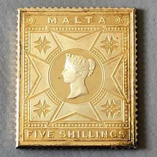 Malta Gold Plated Sterling Silver 5 Shillings Stamp