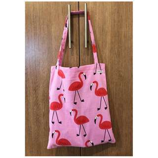 Handmade tote bag - Pink flamingoes with pink background