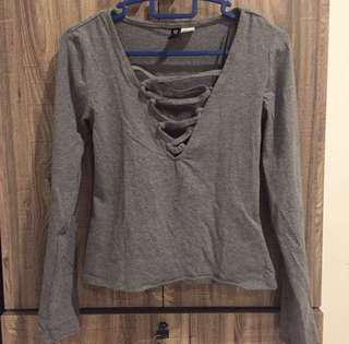 H&M Grey Lace Up Top