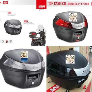 0507---GIVI BOX B34 Red and White Reflection For Sale !!!Brand New (YAMAHA, Honda, SUZUKI, ETC)