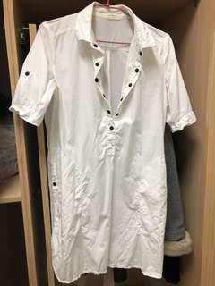 🚚 正韓 長版白襯衫