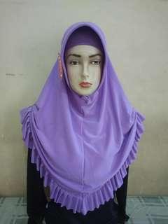 jilbab panjang wanita ungu