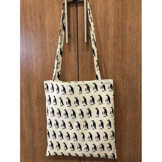 Handmade tote bag - Penguins with white background