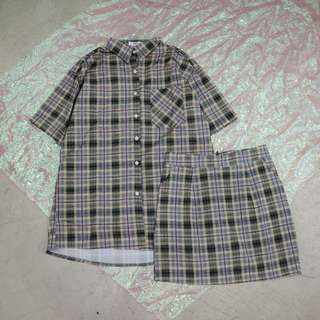 兩件式套裝格子襯衫+格子短裙