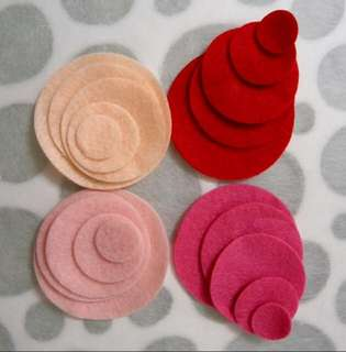 20pcs Multi-colour Die Cut Felt Circles : Various sizes