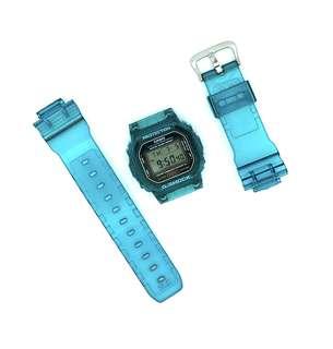 現貨 Casio G-shock Dw-5600 藍綠色 代用 錶帶 錶殻 (非原廠)(不連錶玉) (strap only)