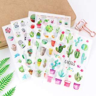 🚚 (Set of 6) Cactus & Succulents Scrapbook / Planner Stickers #166