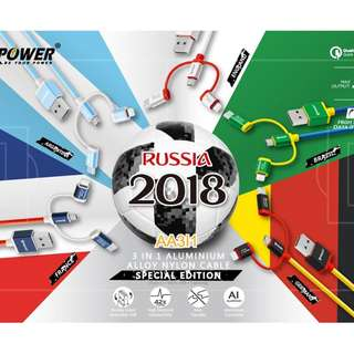 XPower 1.2米 3合1高速傳輸充電尼龍線 (Type-C + Micro USB + MFI) 2018世界盃特別版